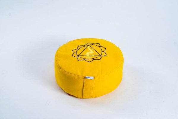 Pernă rotundă zafu YogaSat cu hrișcă, galbenă cu imprimeu Manipura Chakra