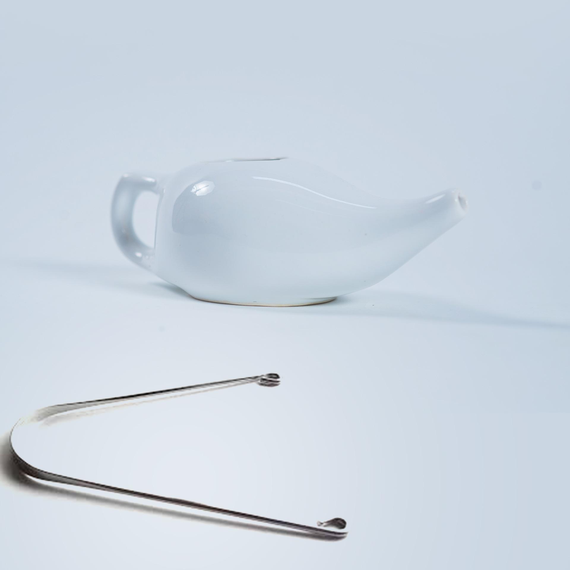 Vas Jala Neti ceramică, alb + 1 curăţător de limbă