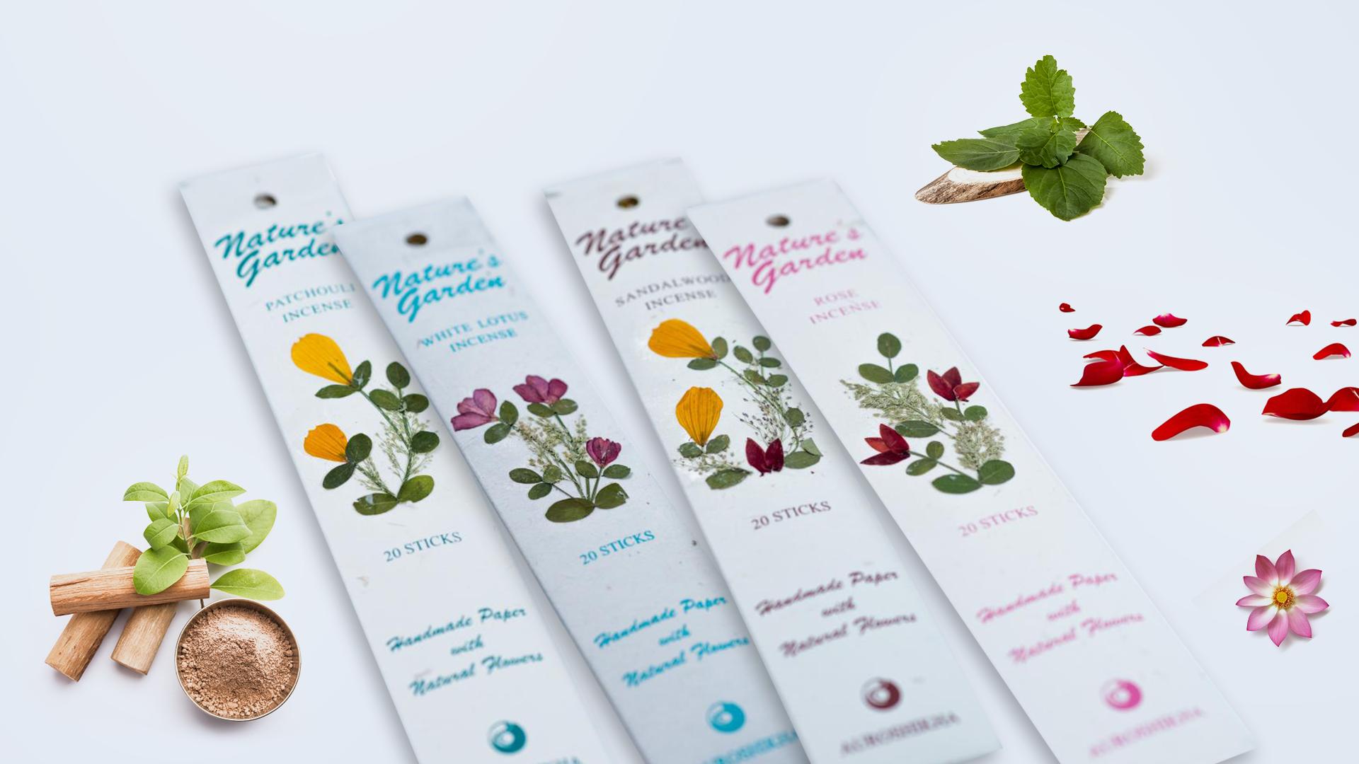 Bețișoare parfumate naturale premium, Trandafir, Patchouli, Lotus Alb, Lemn de Santal - Pachet 4 Arome